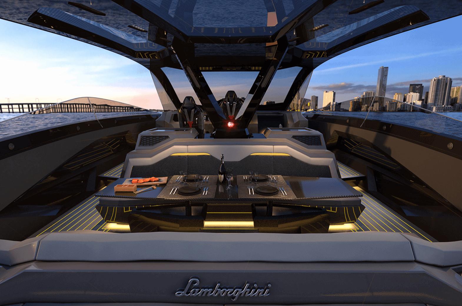 lamborghini 63 tecnomar sürat teknesi iç tasarım